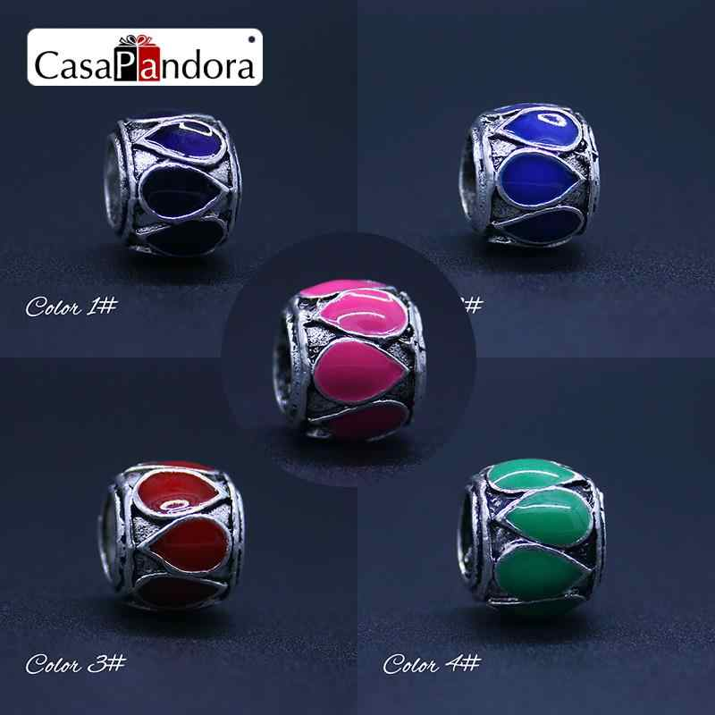 CasaPandora 5 Colors  Silver-colored Color Drops Shape Fit Bracelet Charm DIY Enamel Bead Jewelry Making Pingente Berloque