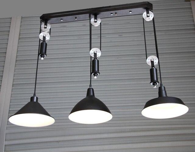 Bar vintage adjustable pulley pendant lamp lights e led