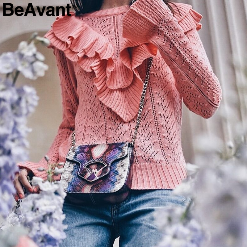 BeAvant Hollow out ruffles sexy white sweater Women streetwear slim autumn pullover 2018 Casual winter pullover female sweater