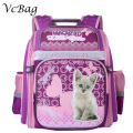 Russian Children School Bags Cute Cat Dog Printed Waterproof Orthopedic Nylon Kids Girls Backpack 3D Schoolbag Mochila Infantil