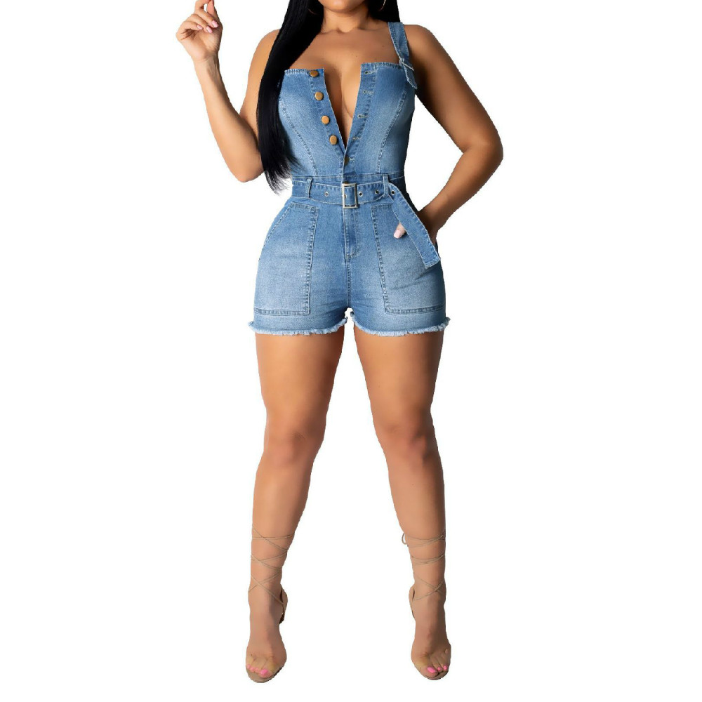 Women 39 s Fashion Summer New Sexy Deep V Straps Jumpsuits Shorts Tassel Blue Denim Jumpsuits bodysuits for Women with Belt S 2XL in Rompers from Women 39 s Clothing