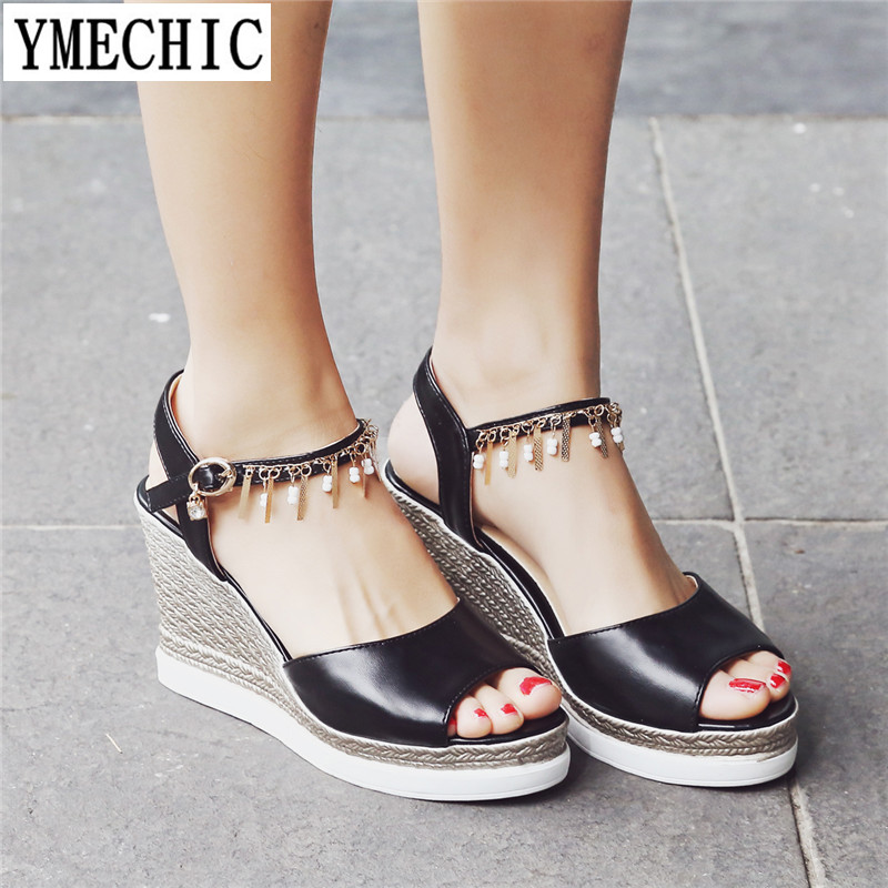 cff4f44e399d YMECHIC Womens Summer Shoes Large Size Peep Toe Wedges Tassel Rhinestone  Lady Black Pink White Plus Size Wedge Heels Sandal 2018