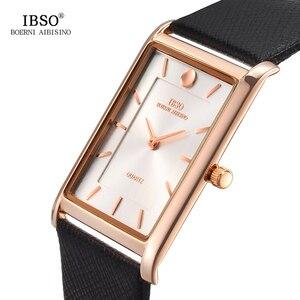 Image 3 - IBSO Brand Men Wrist Watch Luxury Quartz Watch Creative Rectangle Dial Business Men Leather Watches 2019 Erkek Kol Saati #2232