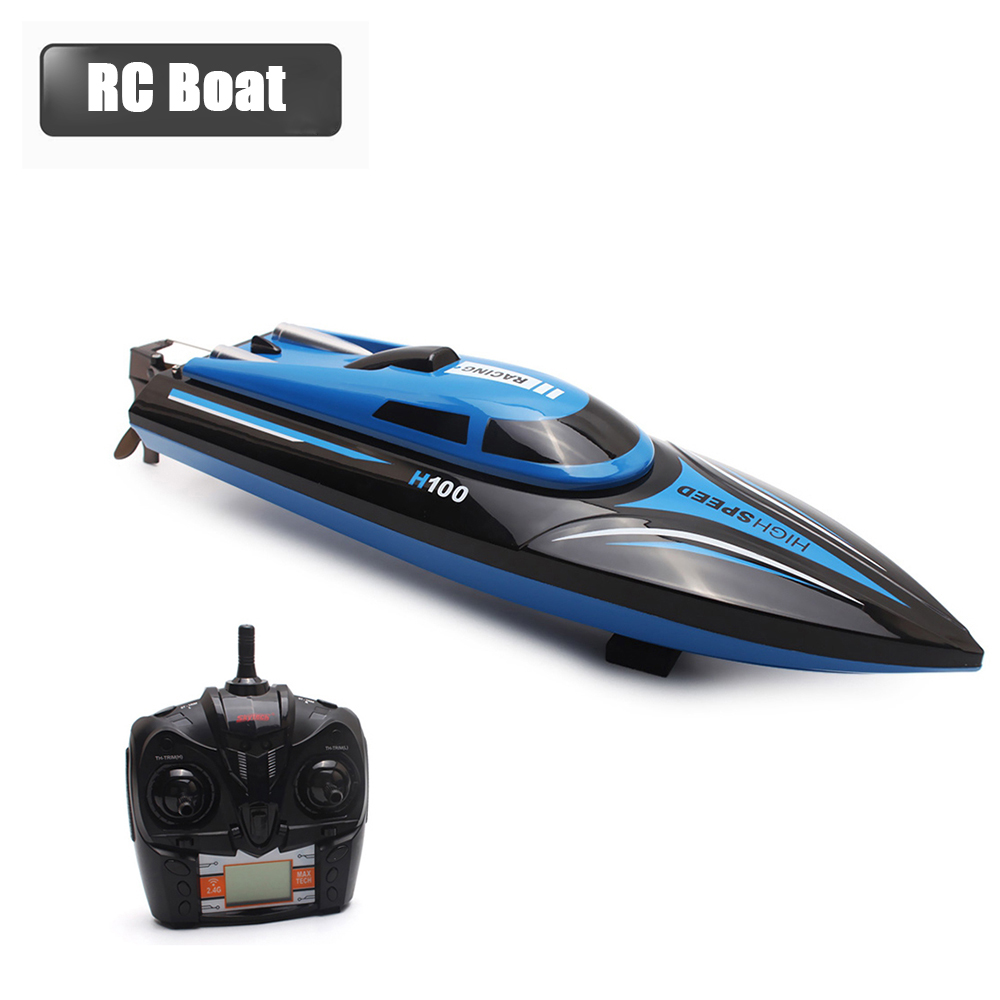 High Speed RC Boat H100 2.4GHz 4 Channel 30km/h Racing Remote Control Boat with LCD Screen as gift For children Toys Kids Gift h625 rtr spike fiber glass electric racing speed boat deep vee rc boat w 3350kv brushless motor 90a esc remote control green