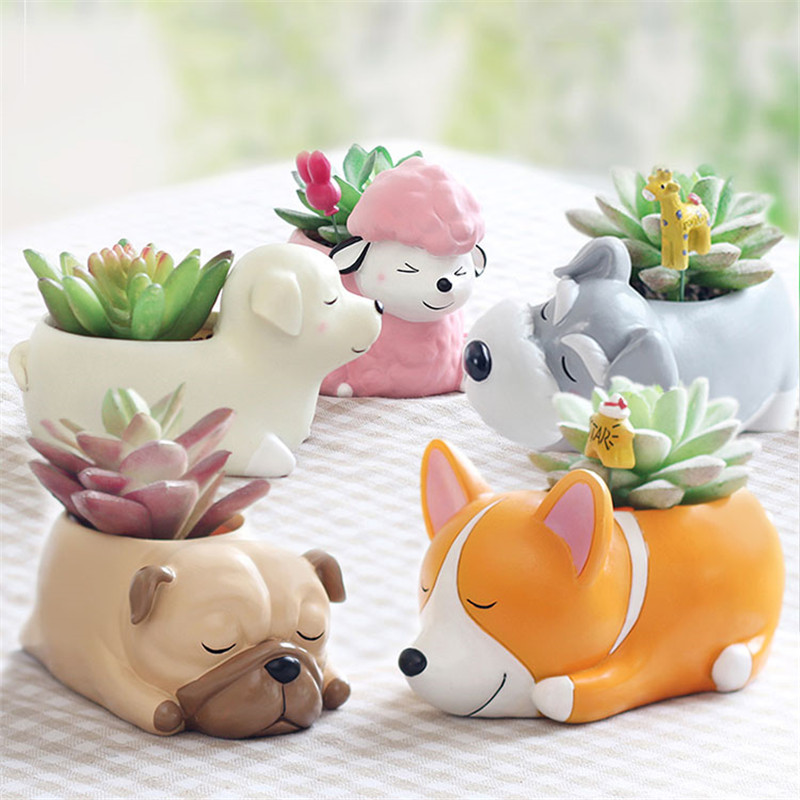 Cartoon Dogs Cute Puppy Resin Succulent Flower Pot Kawaii