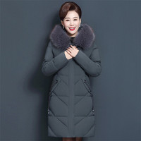 Mom Coat Black Gray XL 6XL 7XL Plus Size Feather Hooded Parkas 2019 New Autumn Winter Fashion Loose Thick Warmth Clothing LD1098