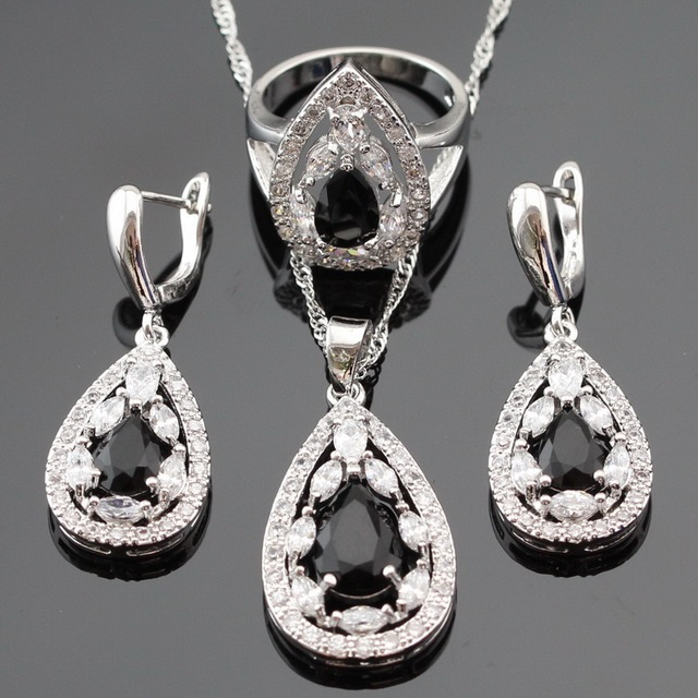 Silver Color  Wedding Jewelry Sets For Women Black Zircon White Crytal Necklace Pendant Drop Earrings Rings Free Gift Box