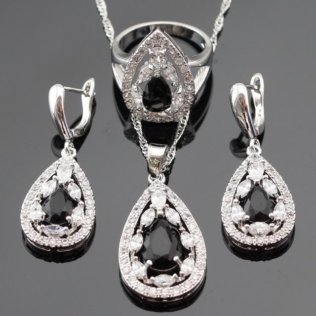 Conjuntos de Jóias de Casamento Para As Mulheres de Cor prata Zircão Preto Branco Crytal Pingente Gota Colar Brincos Anéis Caixa de Presente Livre