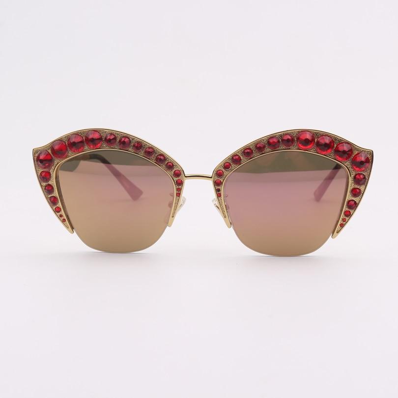 Rosa Mode Kristall Cat Sonnenbrille Roten Mit Rahmen Objektiv Eye Frauen Spiegel OBS7nOr