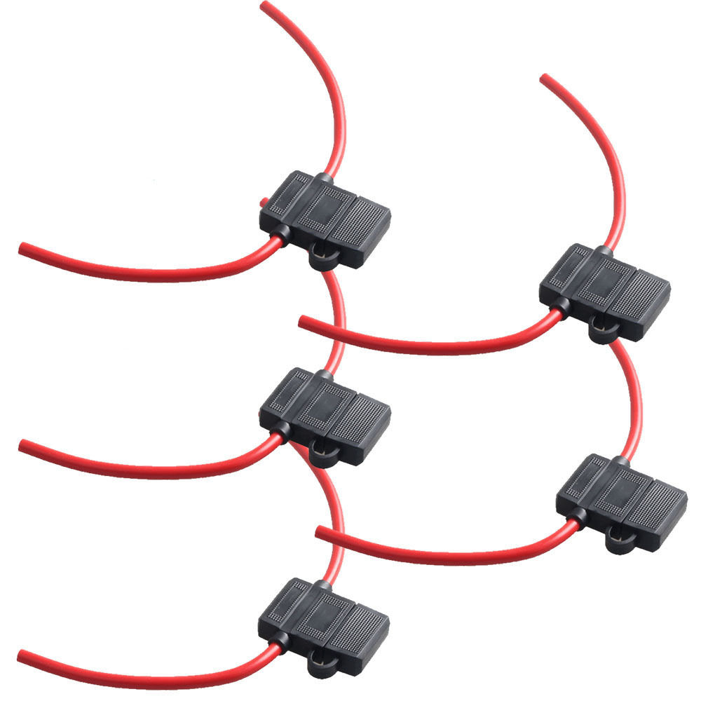 5PCS Mini Fuse Holder In-line Wire Copper 12 Volt 30A Power Blade Car bike