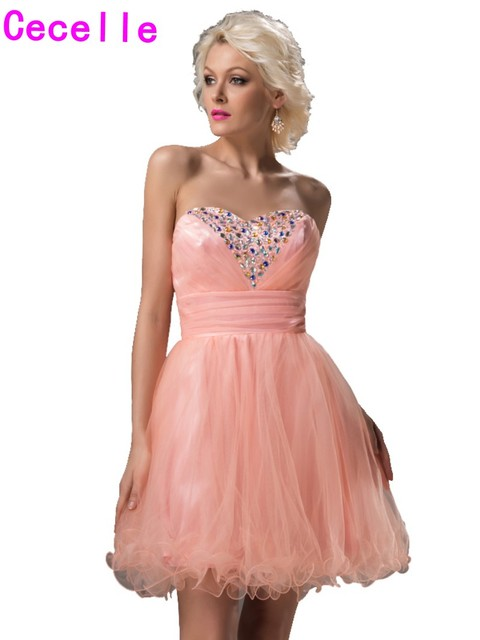 Coral Short Teens Homecoming Gowns 2017 A Line Sweetheart Beaded