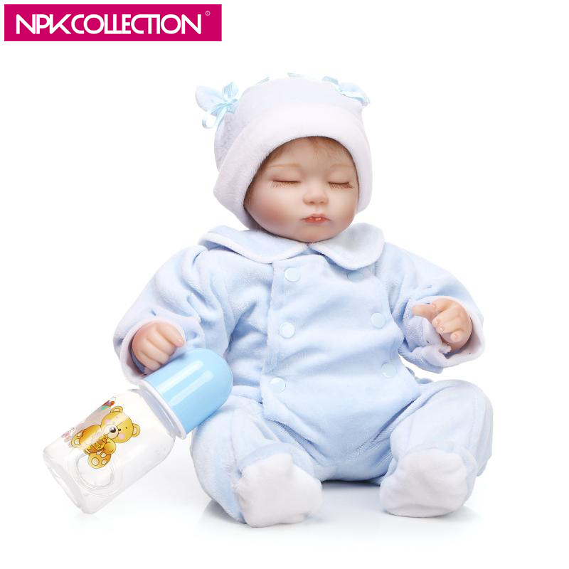 NPK 17 Inch Sleeping Soft Silicone Reborn Baby Girl Doll Realistic Looking Cute Lovely Baby Doll Reborn Toddler Educational Gift adora toddler doll soft silicone reborn baby doll cute 20 inch 52cm baby reborn for kids birthday giftbaby reborn