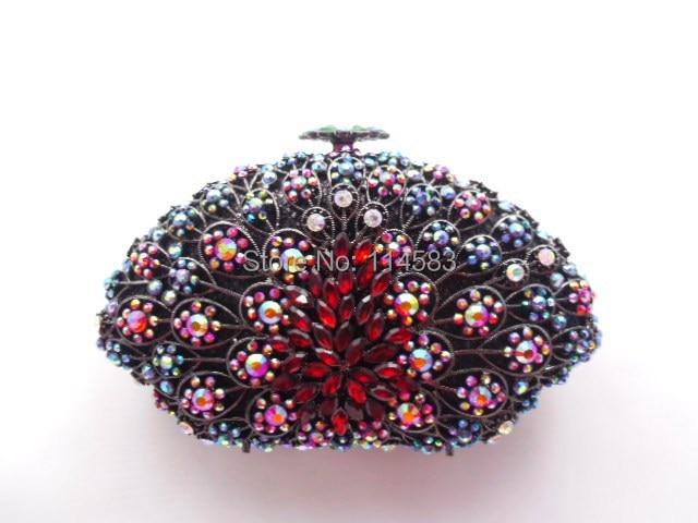 ФОТО 8251A Multi-color Crystal SHELL Floral flower Wedding Bridal Party Night hollow Metal Evening purse clutch bag case handbag