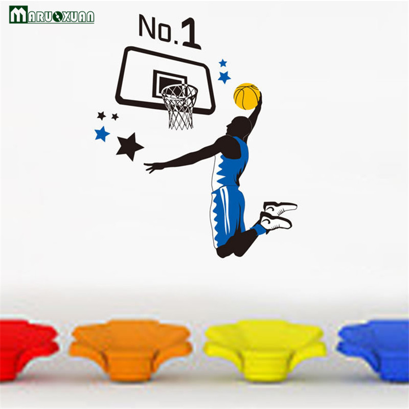 2017 Rushed Maruoxuan New Arrival Sports Basketball Parlor Bedroom Background Wall Stickers Boys Living Room Vinyl Mural Decals