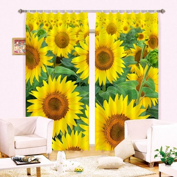 Sunflower Luxury 3D Blackout Window Curtains For  Living room Bedding room Drapes Cortinas Tapestry Wall Carpet