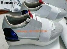 Rousmery caliente de calidad de lujo estilo encaje bajo de los hombres entrenadores zapatos de los planos zapatos casuales parejas ocio de los amantes de los zapatos de malla