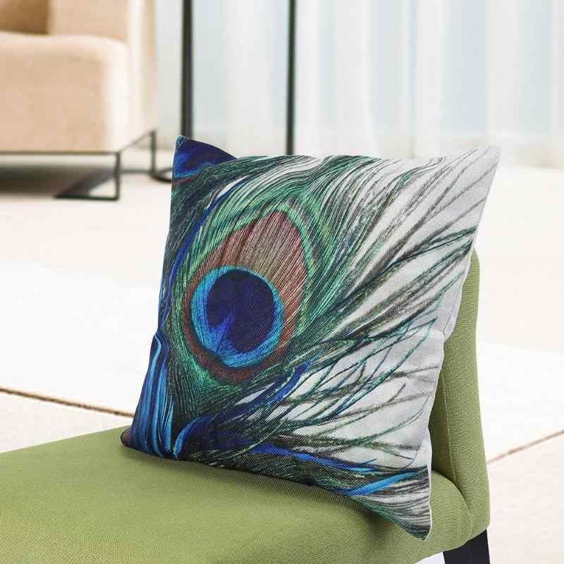 """45x45 см с принтом """"павлиньи перья"""" льняная наволочка подушка чехол для автомобиля Декор для домашнего дивана для домашней подушки"""