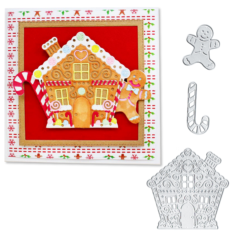 Julyarts Christmas House Snowman Cutting Dies Scrapbooking Santa Claus Sled Clear Stamp and Deco Album Paper Card Making