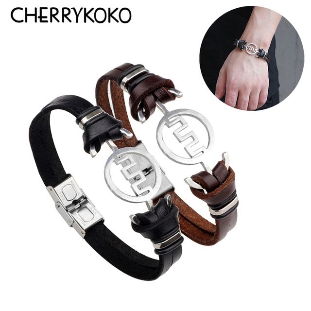 Great Wall Symbol Silicone Stainless Steel Cross Bracelet Bangle For