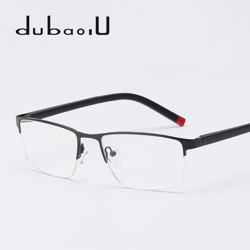 Metal Eyeglasses Frame Fashion Half Rim font b Computer b font Clear Prescription Myopia Optical Eyewear