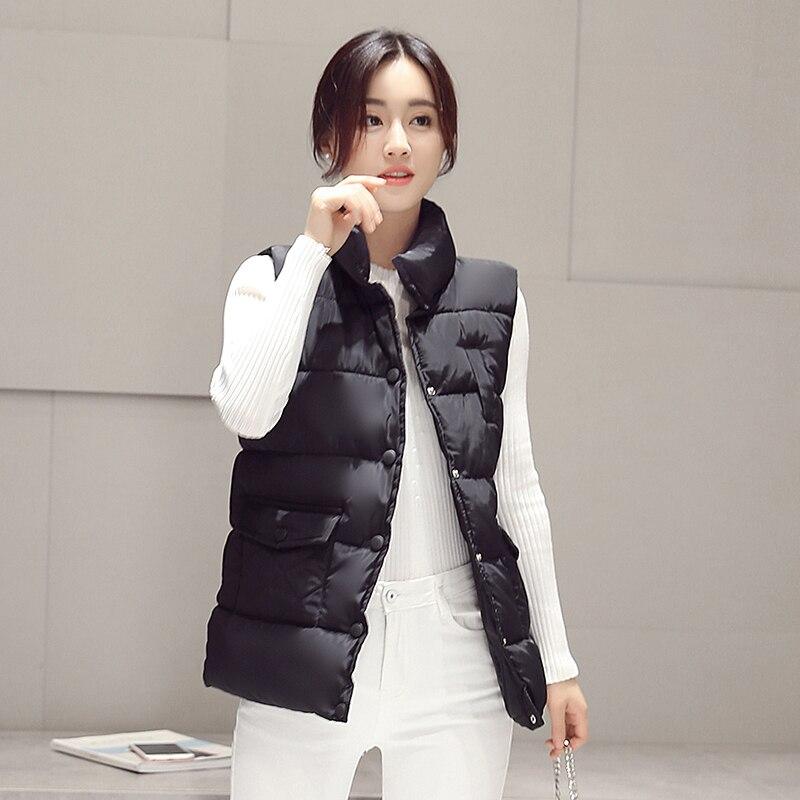 2017 new autumn and winter women vest down jacket fashion Slim plus thick solid collar collar warm vest jacket woman vest
