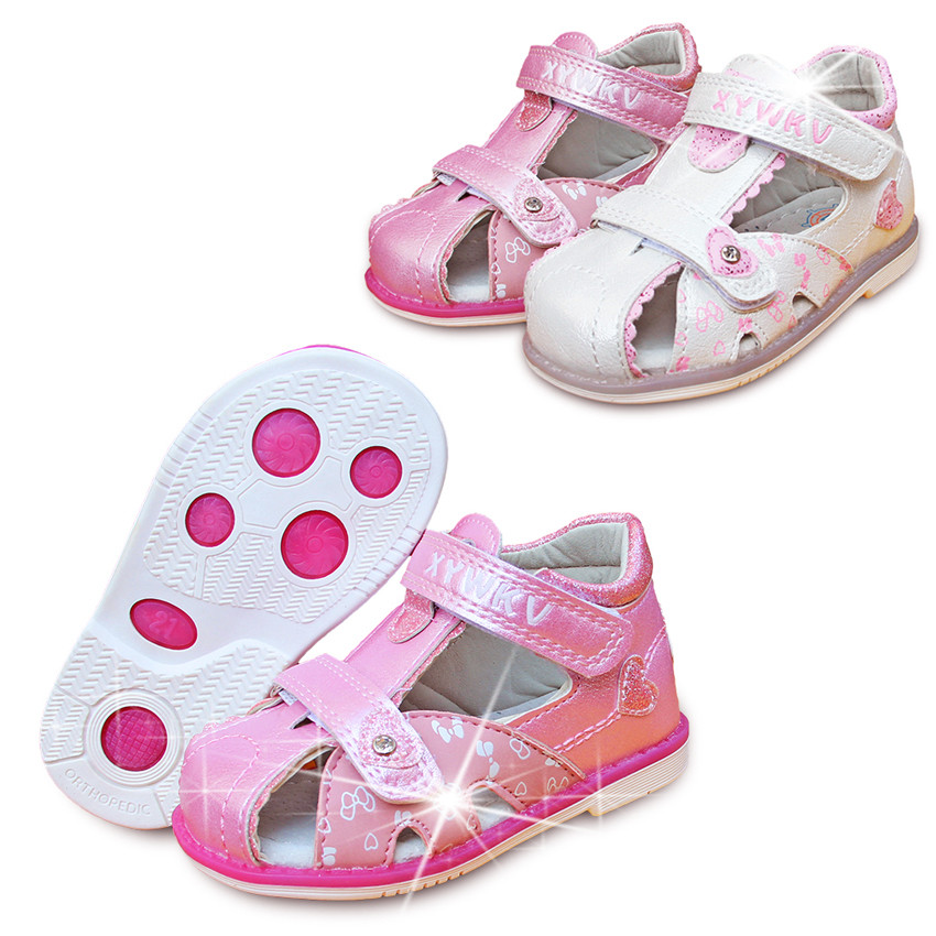 NEW DESIGN 1pair Closed Toe PU Leather Girl Children Sandals Orthopedic Shoes,inner 11.8-15cm, Kid Soft Arch Support Sandals
