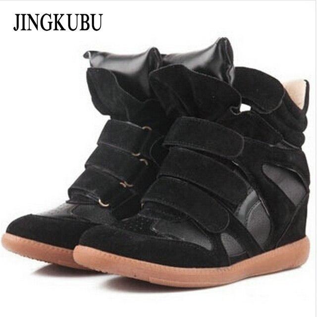 Chaussures de mode bottines en cuir augmentation bottes coins chaussures mode casual dames bottes,noir,35