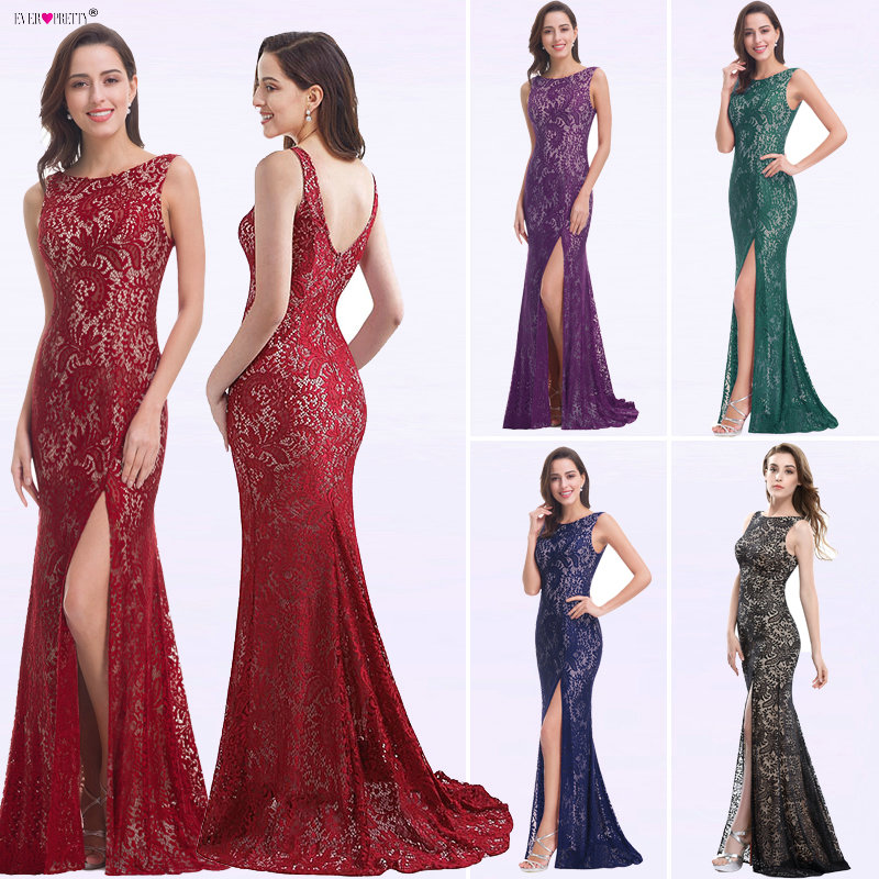 Mermaid Evening Dress Ever Pretty EP08859 2019 Long Sexy Sleeveless Split Formal Celebrity Lace Evening Gown Dresses robe longue