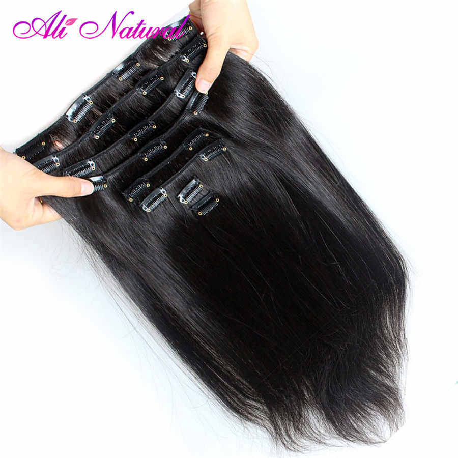 Brazilian Straight Hair Clip in Human Hair Extensions Natural Color Non-Remy Hair Clip-in 10Pcs/Set 120G Free Shipping