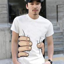 Summer Cotton Mens T-shirt Big Hand Print Tops Shirt