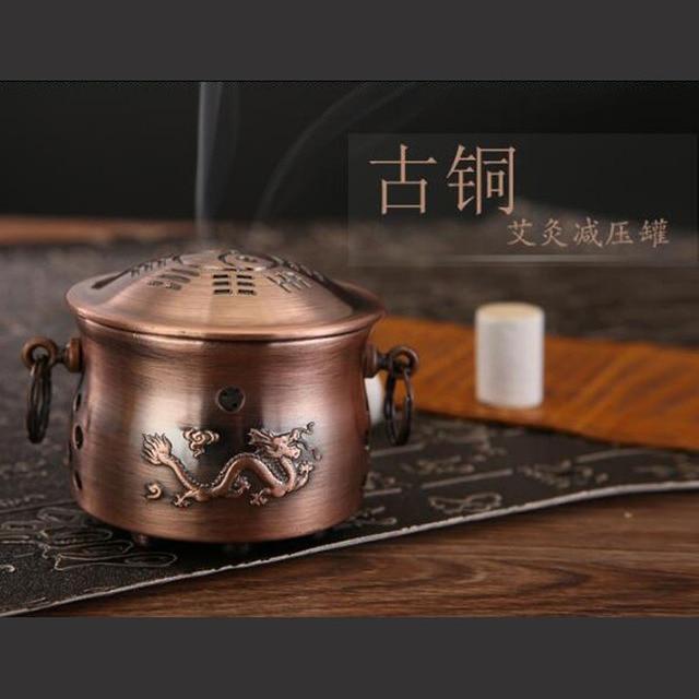 Copper moxibustion tank Moxa box acupuntura Health  Ai-chu moxa-moxibustion box Meridian Scraping Massage Natural