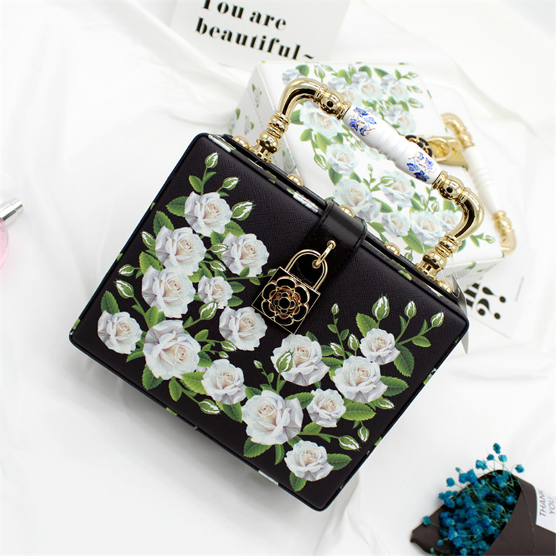 Floral Crystal Women Evening Party Totes Bags Balck White Clutches Shoulder Handbags Crossbody Bags Hardcase Ladies Box Hand Bag casual small candy color handbags new brand fashion clutches ladies totes party purse women crossbody shoulder messenger bags