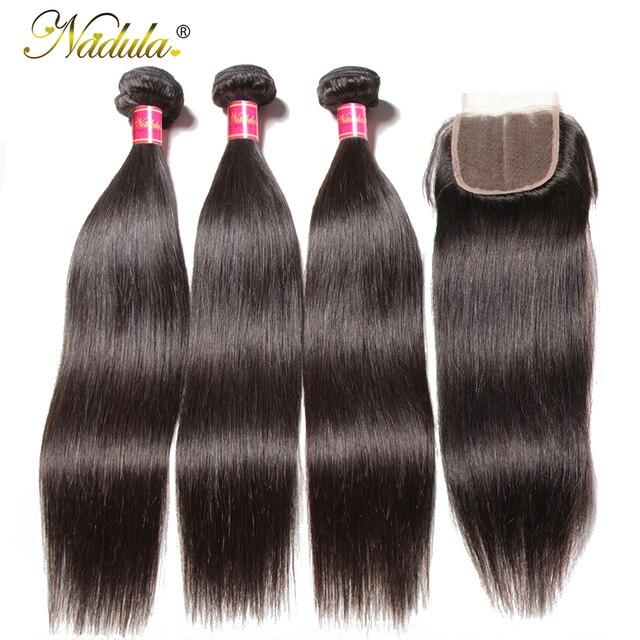 Nadula pelo 3 paquetes de pelo lacio brasileño con cierre 4*4 de cierre de encaje con cabello humano teje pelo negro Natural pelo Remy de Color