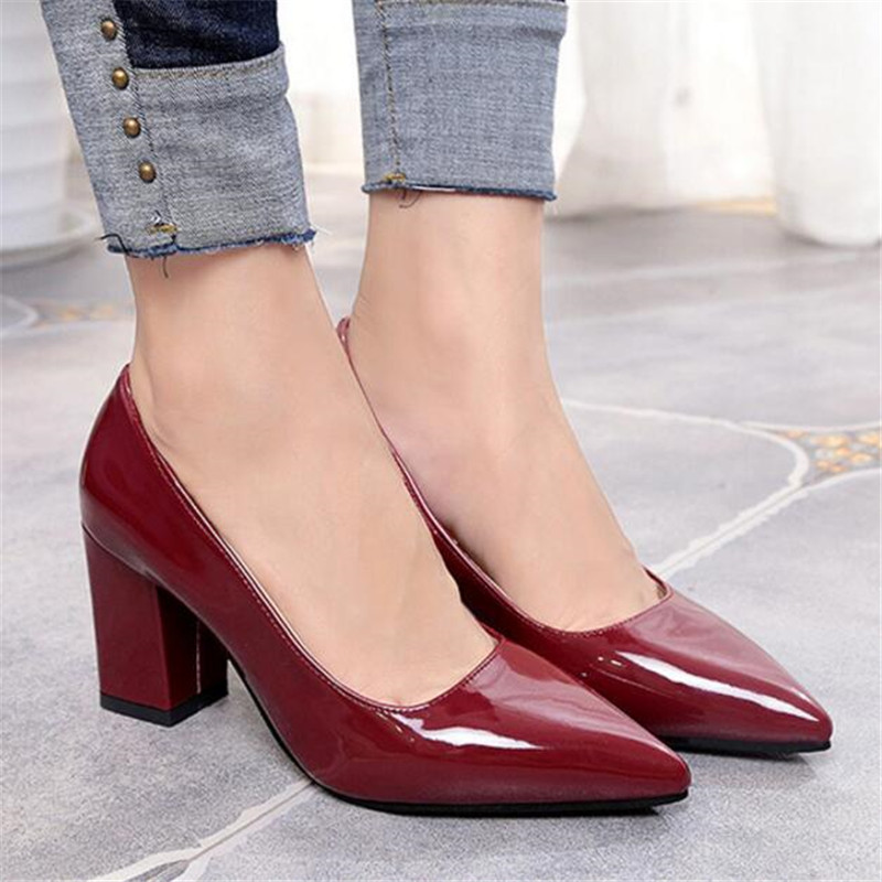 Women Pumps 2018 Women's Shoes Pointed Thick Heel With High Heel 7 Cm New Single Shoes Female Autumn Shallow Mouth Size 33-43