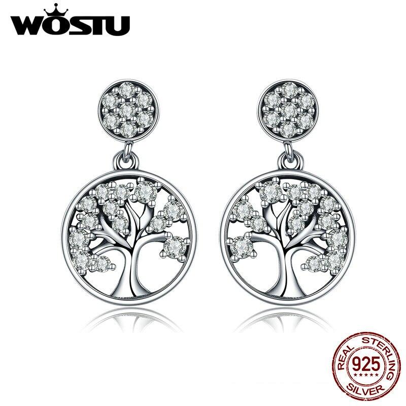 WOSTU Venta caliente auténtico 925 Sterling plata Árbol de la vida pendientes para las mujeres de la marca de moda de joyería de regalo para amigos CQE067