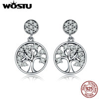 WOSTU Hot Sale Authentic 925 Sterling Silver Tree Of Life Drop Earrings For Women Fashion Brand