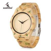 BOBO CdD21 Completo Relojes de Los Hombres de la Impresión Hecha A Mano De Madera de AVES Flores Diseño Erkek Relojes con Correa De Bambú como Regalos