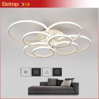 Lámpara LED de techo acrílica súper delgada  anillos circulares modernos  iluminación para comedor  lámpara luminaria para sala de estar con Control remoto