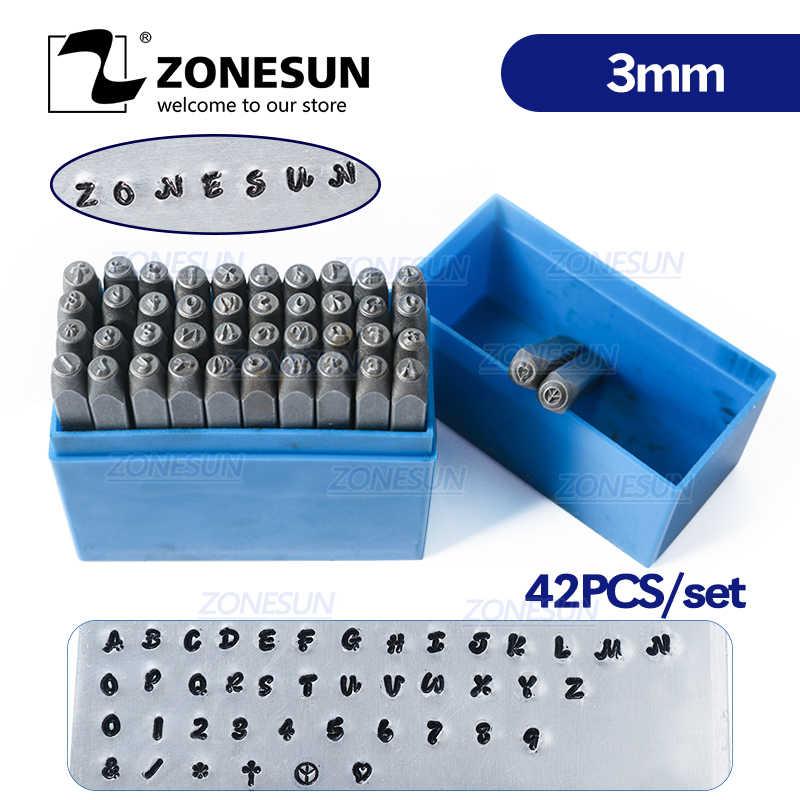 ZONESUN 42 ADET Takı Metal Pullar Alfabe Seti A-Z Kalp Sembolü Mektup Yumruk Döküm Zanaat Damgalama Araçları Çelik Metal aracı