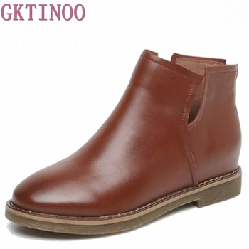 Ankle Boots Genuine Leather Winter Boots Women's Autumn Shoes Low Heels Chelsea Boots Vintage Sewing Thread Britain Botas