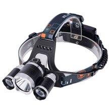 2016 nuevo, T6Headlamp 6000 lúmenes 3 x Cree XM-T6 r5 lámpara LED que acampa del faro con batería recargable y cargador