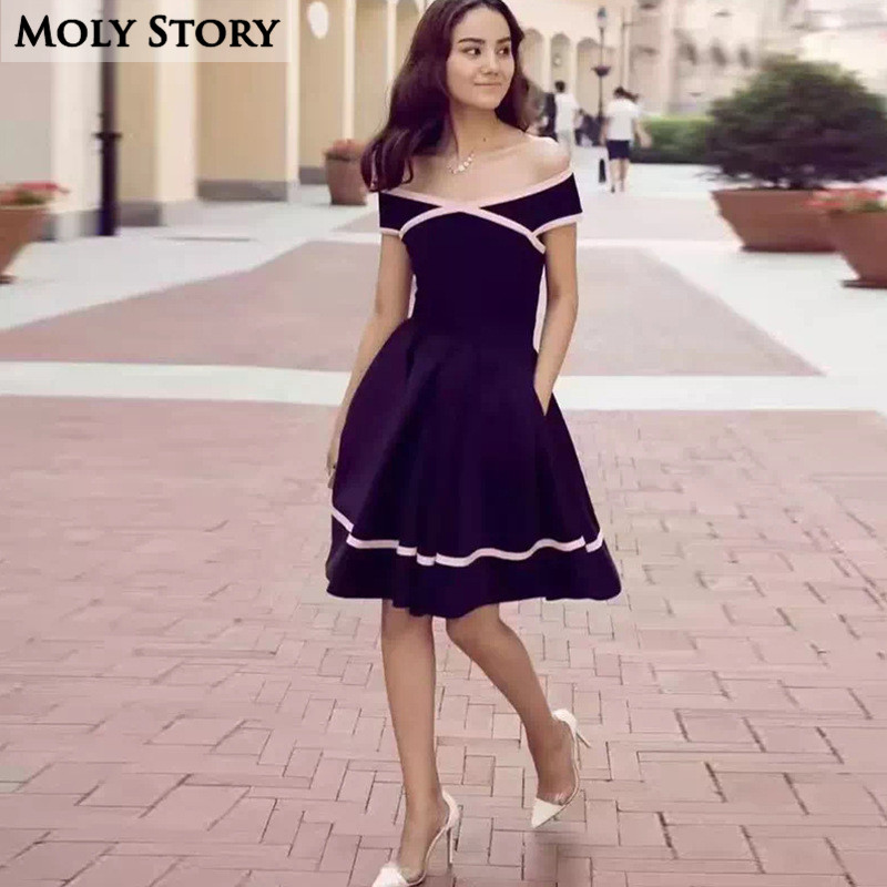 Super! Elegant Ladies Little Black Patchwork Dress Strapless Party - Women's Clothing - Photo 1