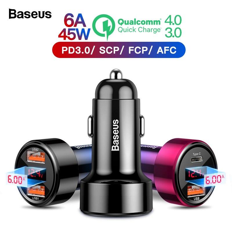 Baseus Carga Rápida 4.0 3.0 USB Carregador de Carro Para o iphone Xiao mi mi Telefone Celular Sumsung QC4.0 QC3.0 QC Tipo C PD Rápido Carregamento Carro