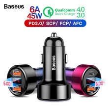 Baseus Quick Charge 4.0 3.0 USB Car Charger For iPhone Xiaomi Mi Sumsung Mobile Phone QC4.0 QC3.0 QC Type C PD Fast Car Charging(China)