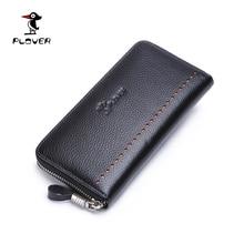 Plover Wallet Men Genuine Leather Long Male Clutch Purse Luxury Designer Zipper Coin Pocket Mens Wallet Carteira Masculina