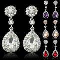 Mulheres luxo Waterdrop brincos Chandelier strass presente da jóia de cristal 6XMX