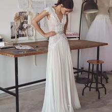 Backless Light Chiffon Wedding Dresses Lace Aplliques Cap Sl