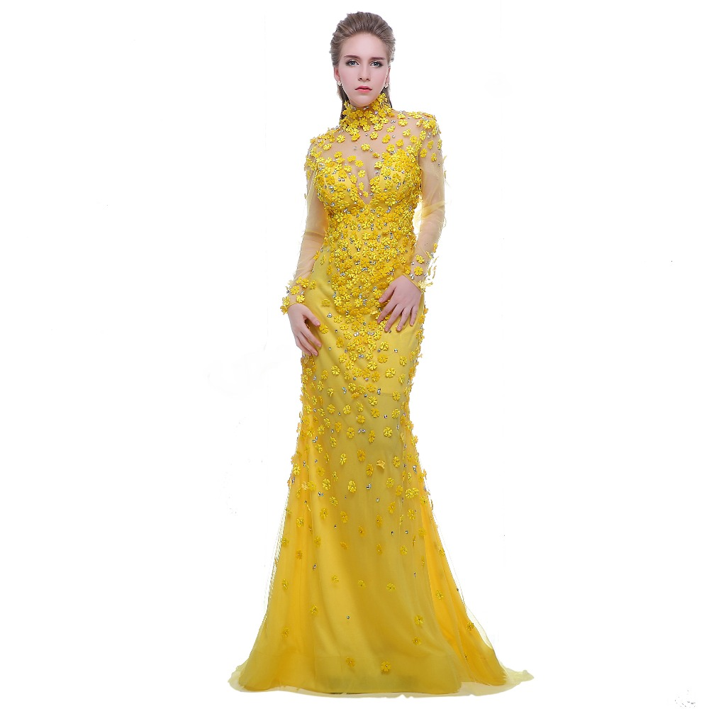 Finove prom dress yellow 2017 high neck long sleeves see through back beading with flowers formal