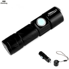 Portable Mini USB Rechargeable 350LM LED Flashlight Outdoor Travel Focus Zoomable Strong Handy light Torch 3-Mode with Strap