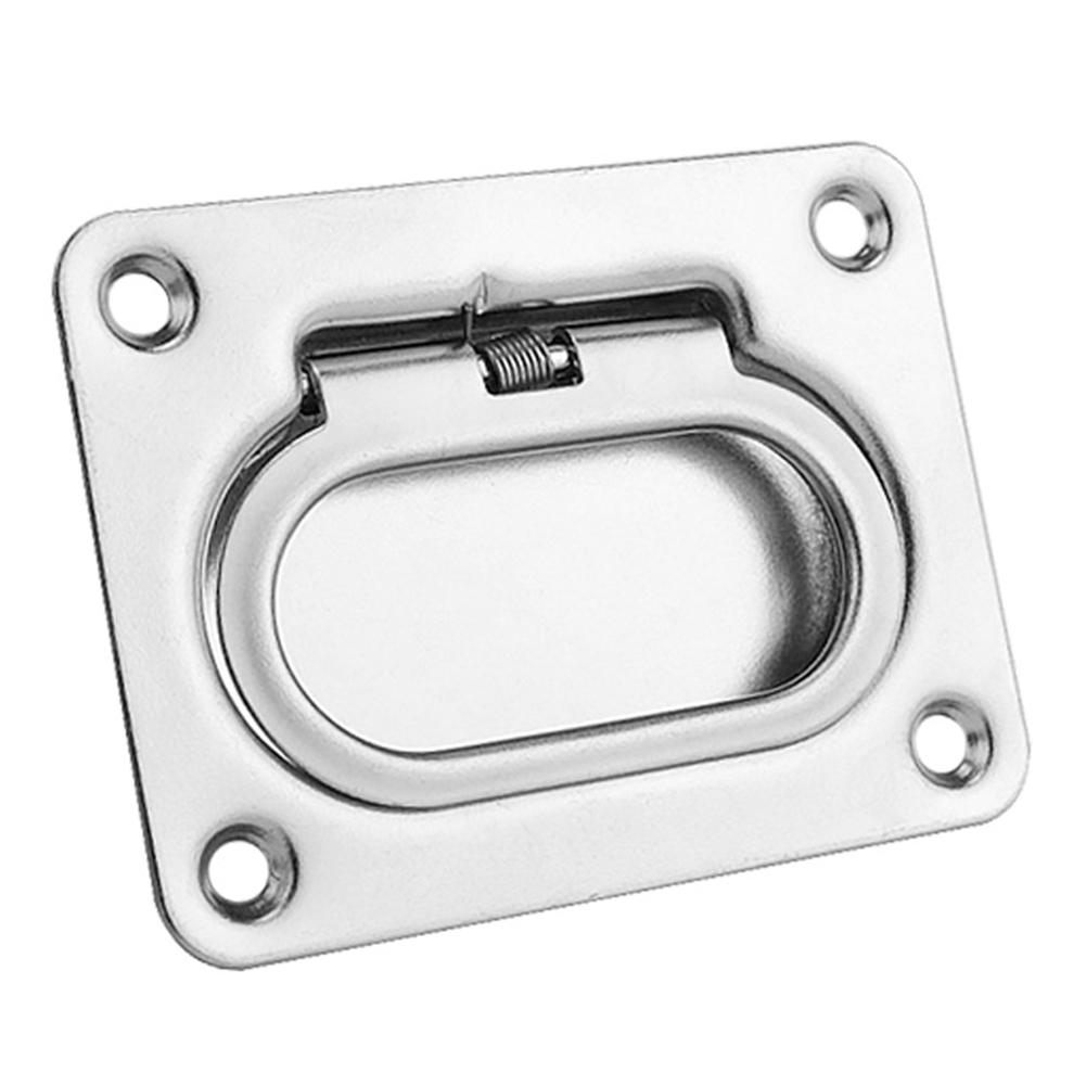 Cabinet Pull Ring Durable Hardware Recessed Hatch Spring Flush Silver Handle Boat Marine Locker Stainless Steel Lift Fitting